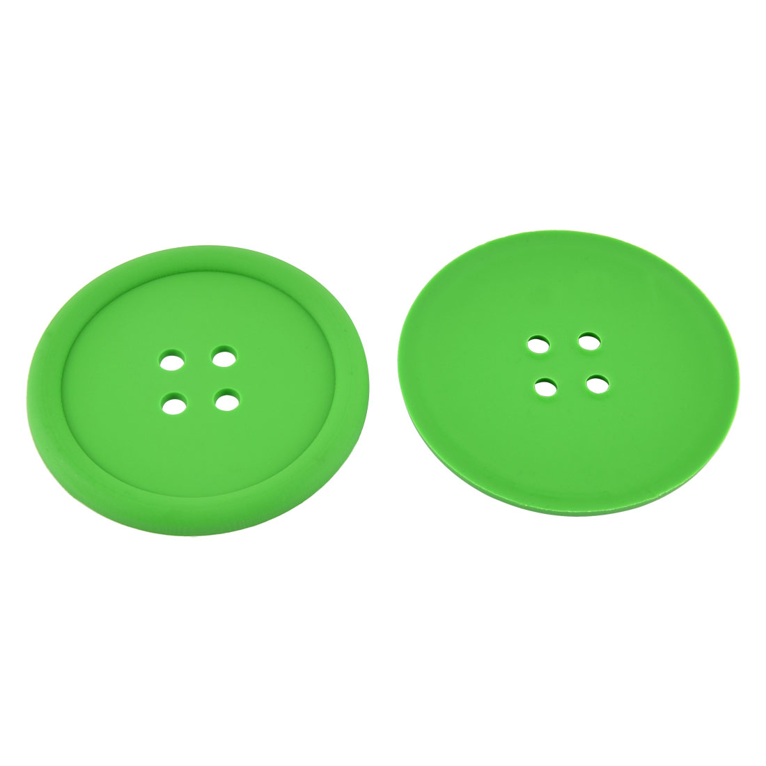 Household Silicone Coat Button Shaped Teapot Bottle Cup Coasters Mat Green 2 Pcs