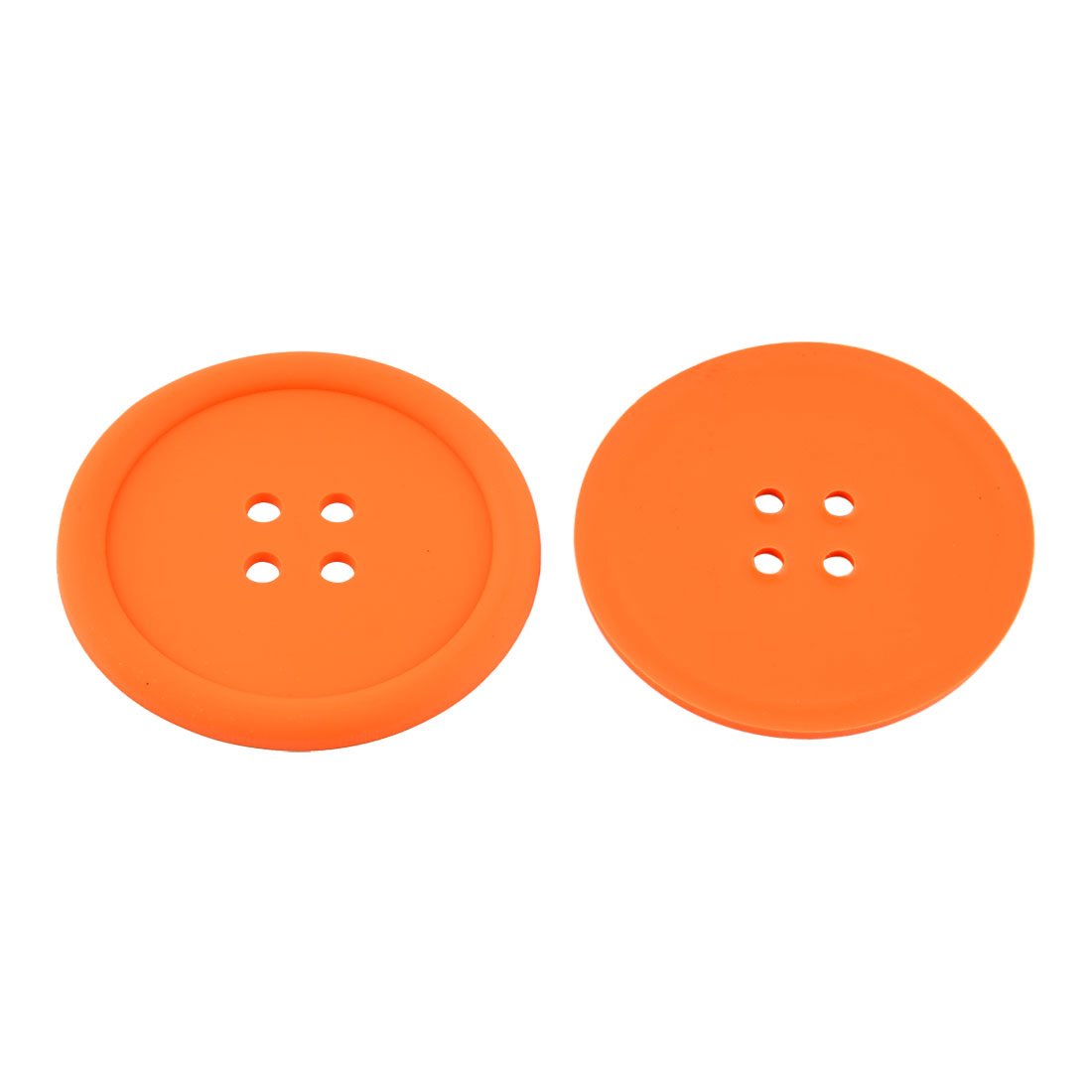 Household Silicone Coat Button Shaped Teapot Bottle Cup Coasters Mat Orange 2 Pcs