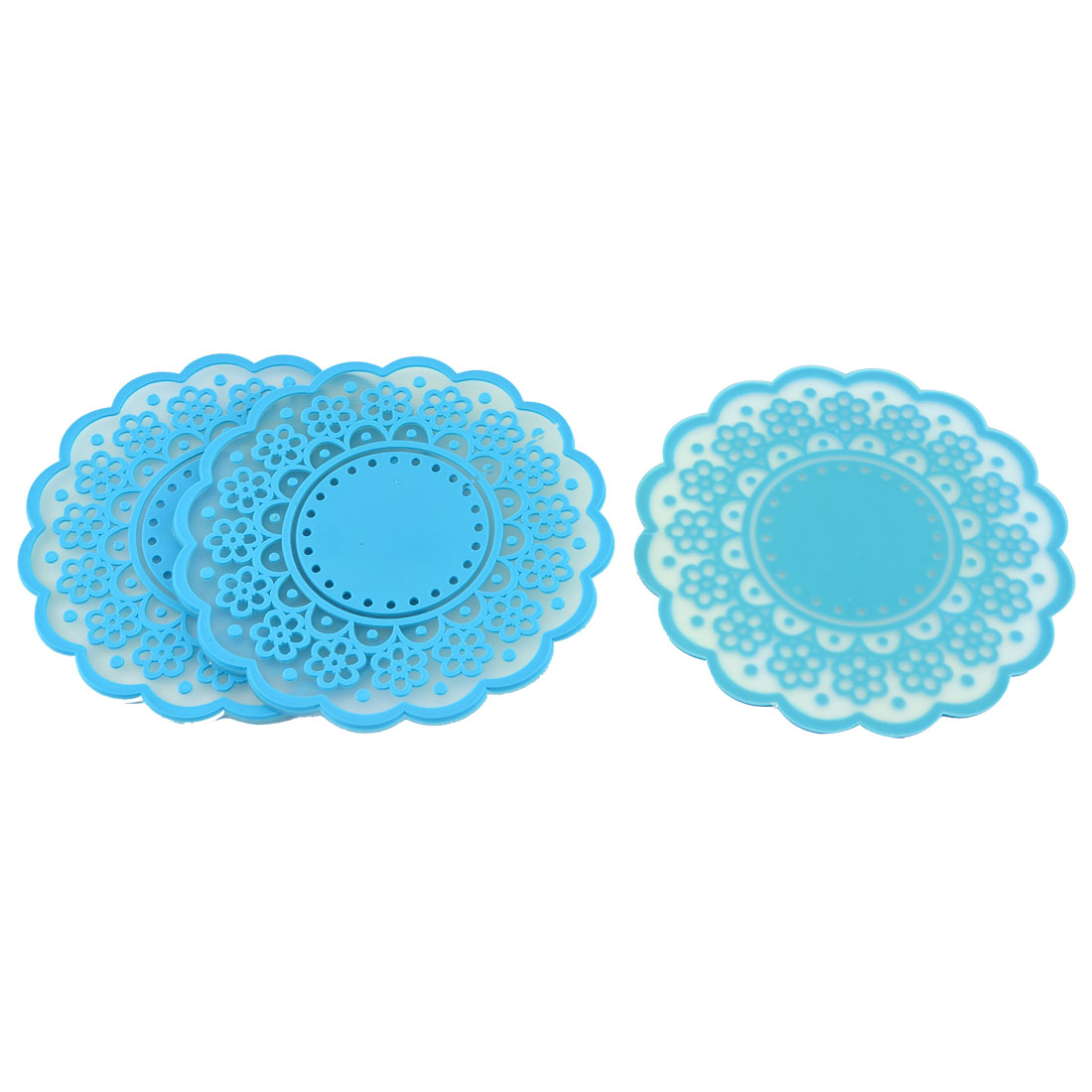 Household Silicone Flower Shaped Teapot Bottle Cup Coasters Mat Blue 3 Pcs