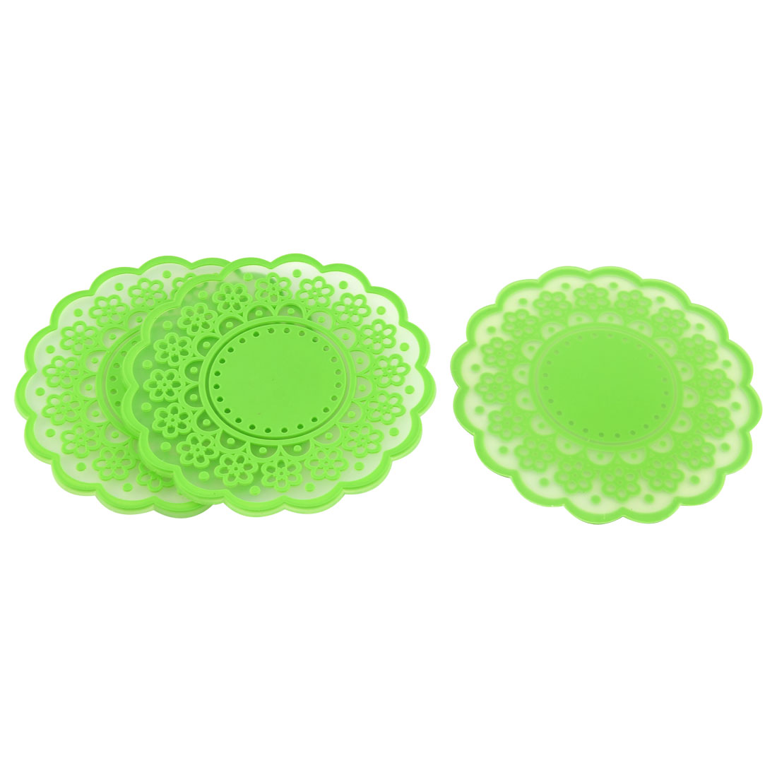Household Silicone Flower Shaped Teapot Bottle Cup Coasters Mat Green 3 Pcs