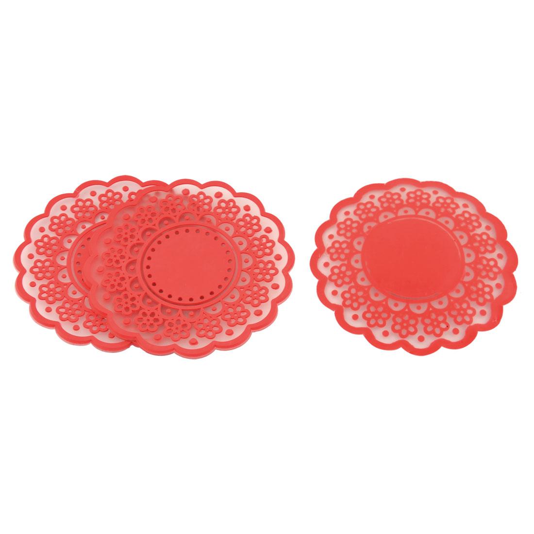 Household Silicone Flower Shaped Teapot Bottle Cup Coasters Mat Red 3 Pcs