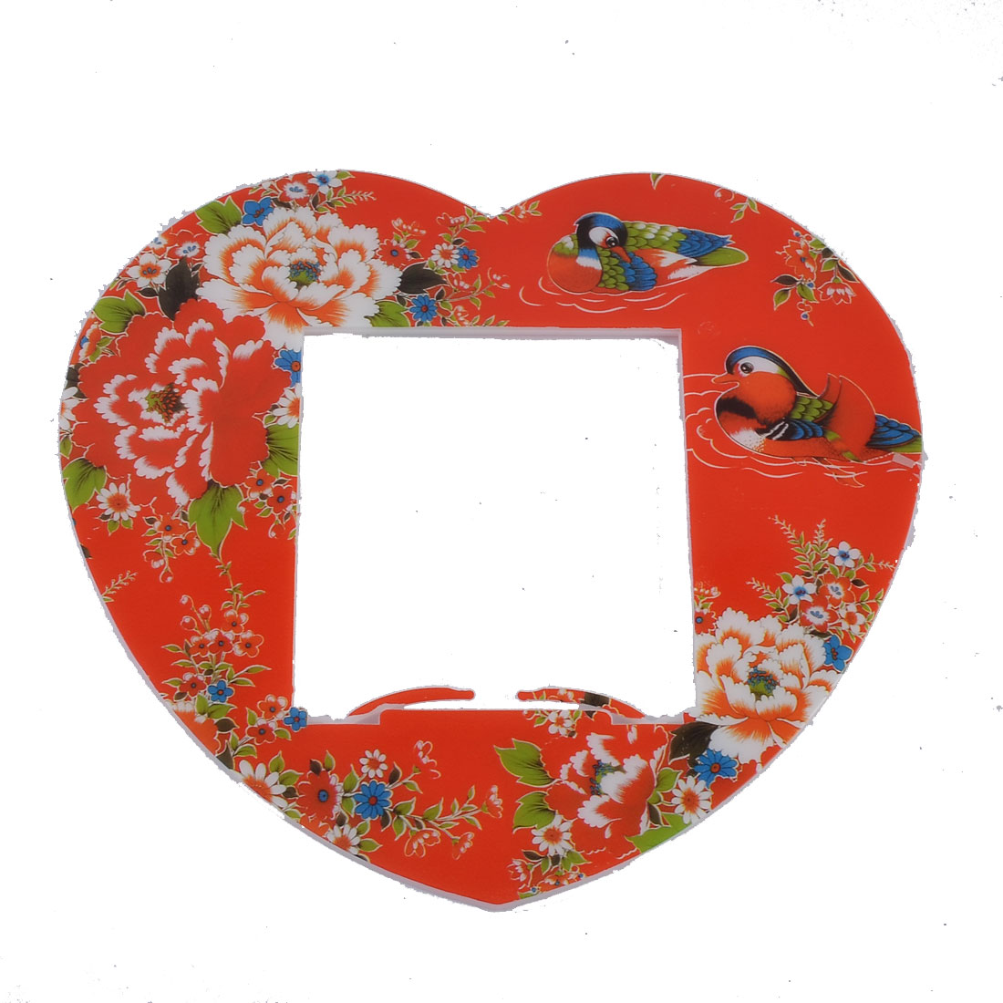 Plastic Birds Flowers Pattern Heart Shape Light Switch Cover Plate Red