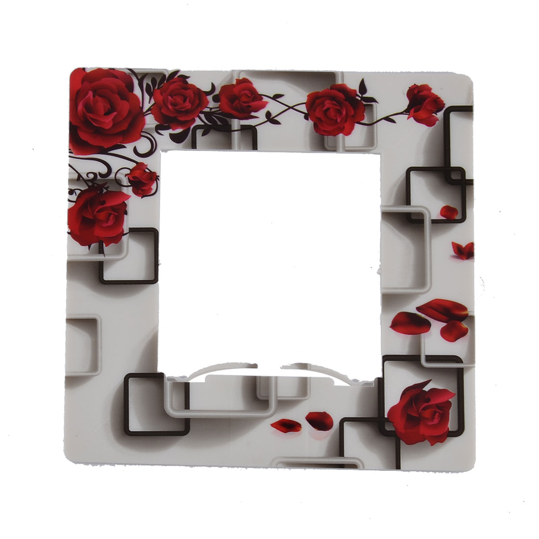 Plastic Rose Pattern Square Shape Light Switch Cover Plate Protector