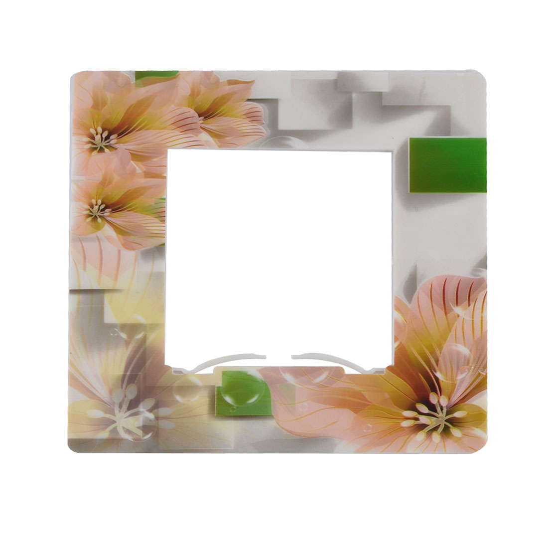 Plastic Floral Printed Square Shape Creative Light Switch Socket Cover Plate