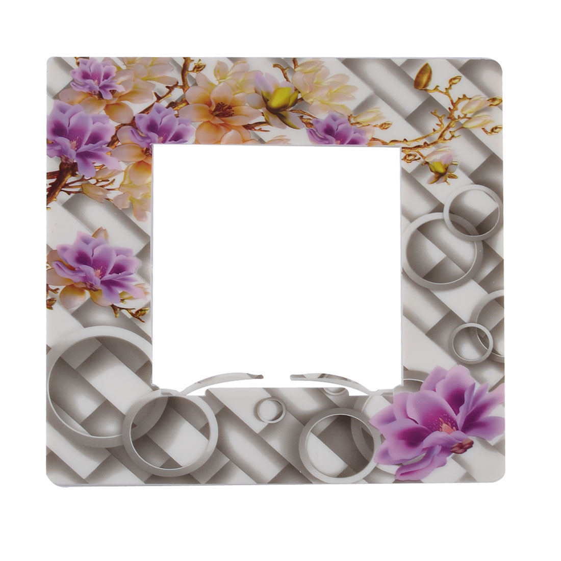 Plastic Flower Pattern Square Shape Light Switch Socket Cover Plate Protector