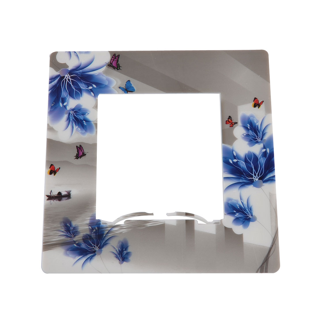 Plastic Floral Pattern Socket Protective Light Switch Cover Plate Blue Gray