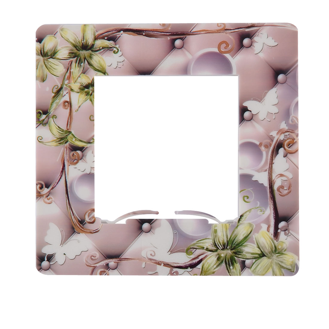 Plastic Flower Pattern Square Design Wall Light Switch Socket Cover Plate