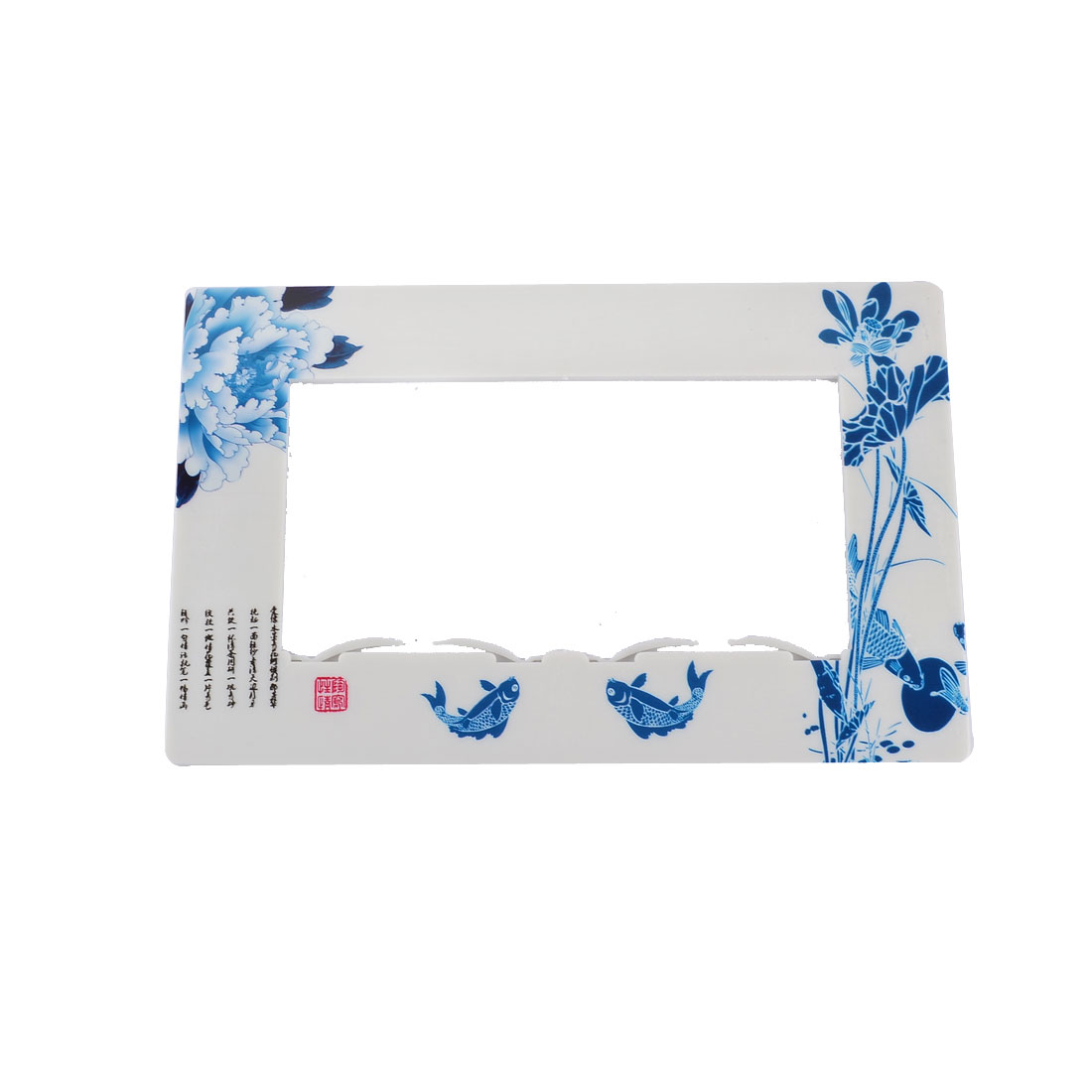 Plastic Flower Fish Pattern Double Open Light Switch Cover Plate White Blue