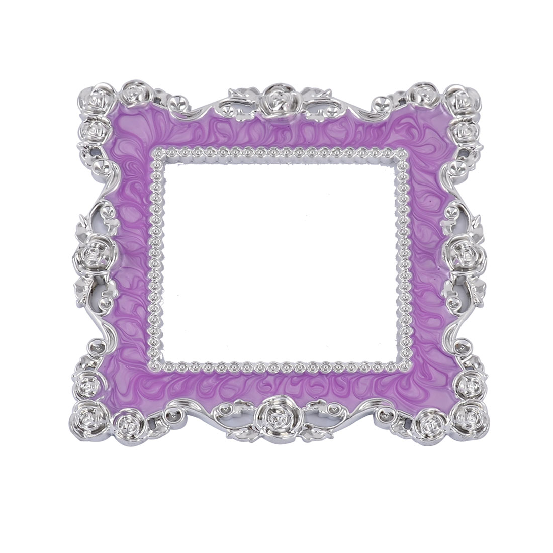 Plastic Floral Pattern Light Switch Socket Cover Plate Purple Silver Tone