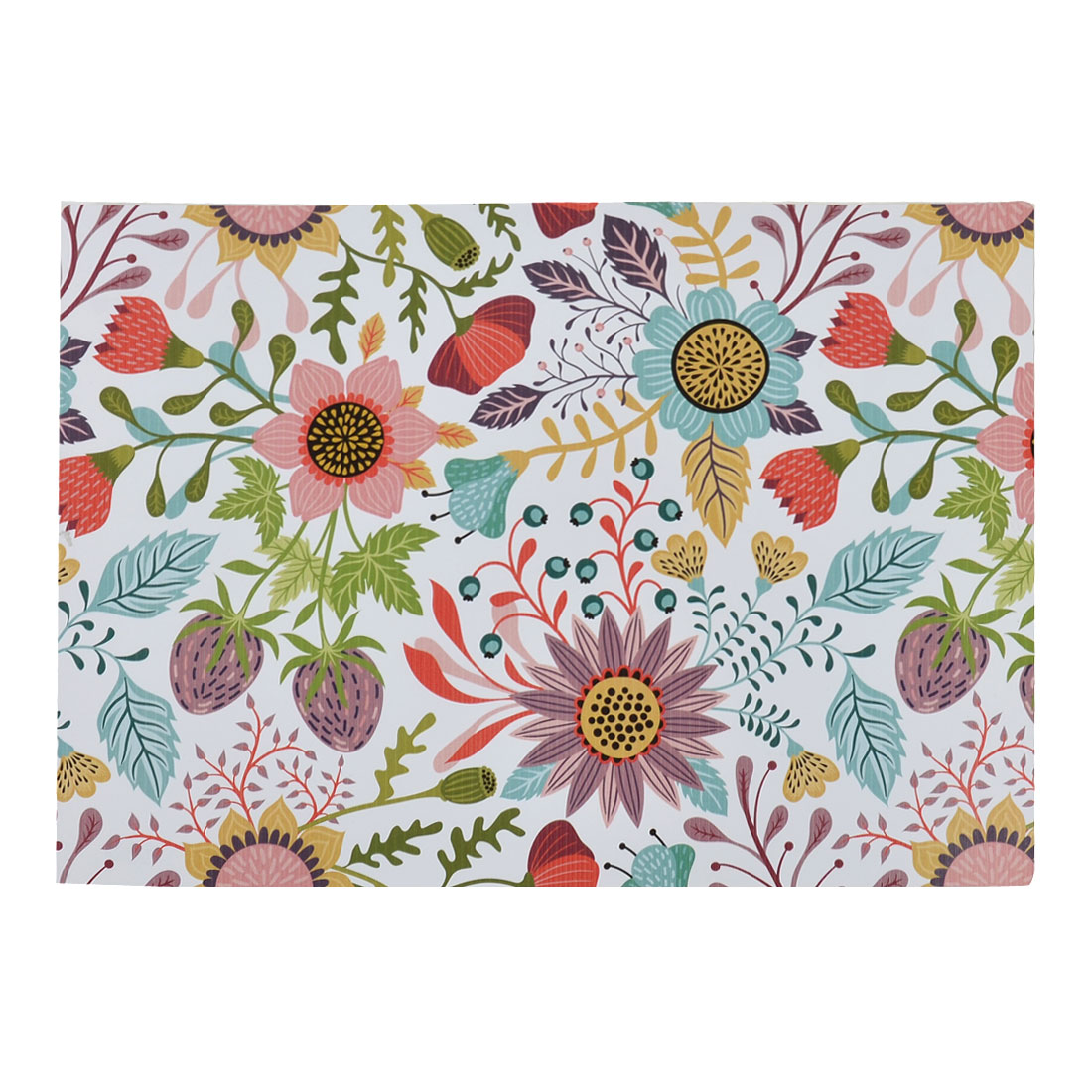 PVC Rectangle Shaped Flower Pattern Heat Insulation Table Mat Placemat Coaster Colorful