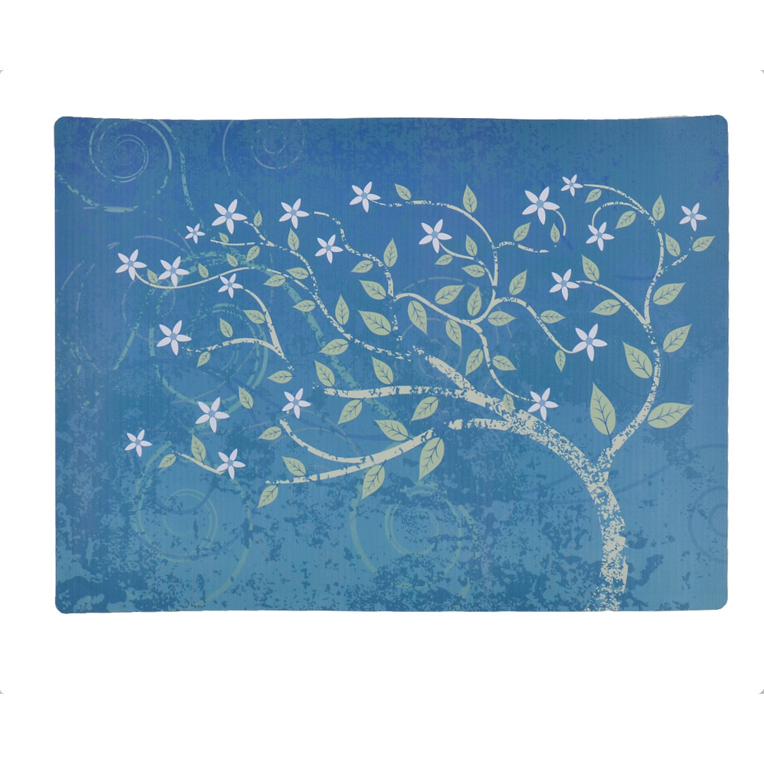 PVC Tree Pattern Heat Insulation Washable Table Mat Placemat Coaster Blue