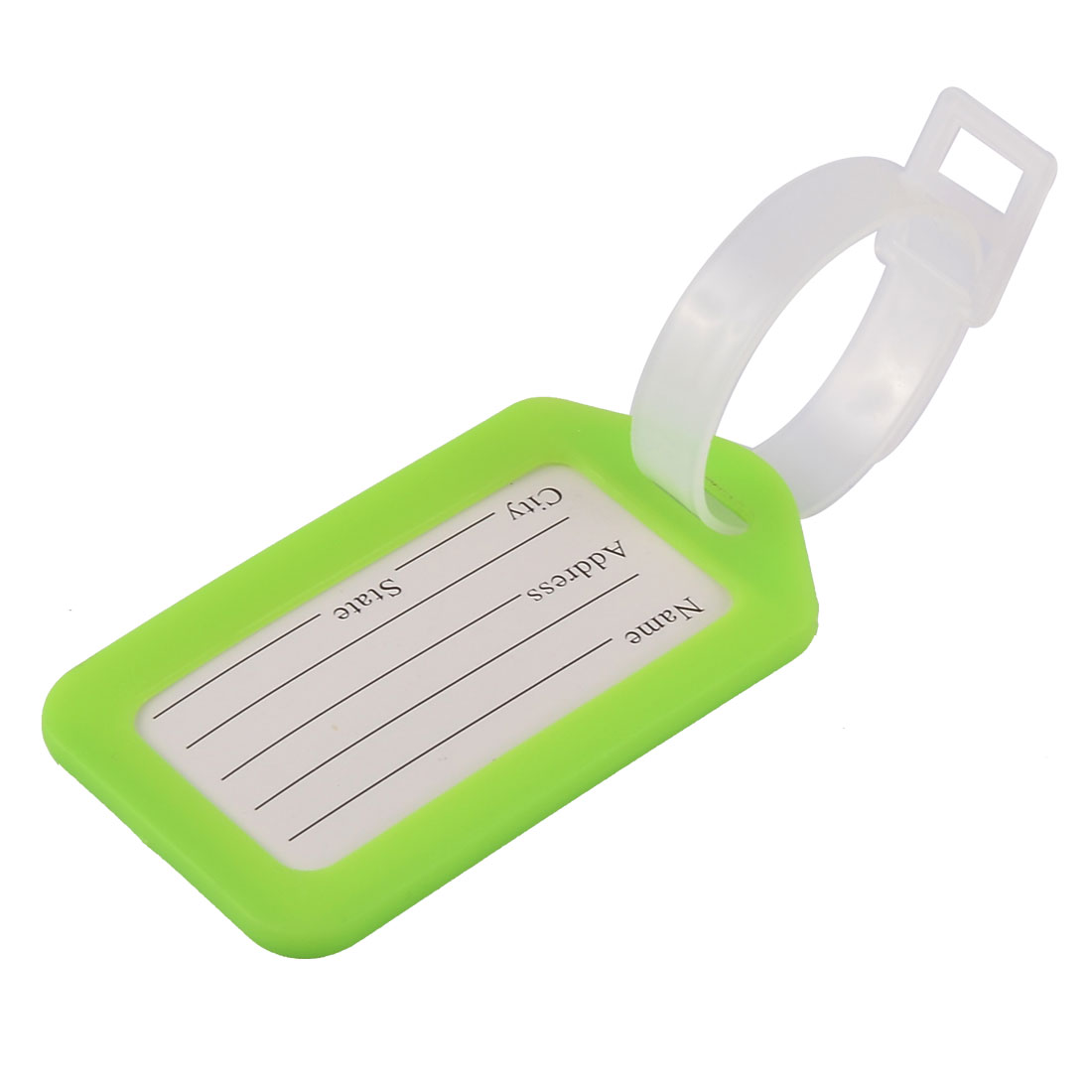 Plastic Rectangle Shaped Suitcase Backpack Bag Luggage Tag Green Clear