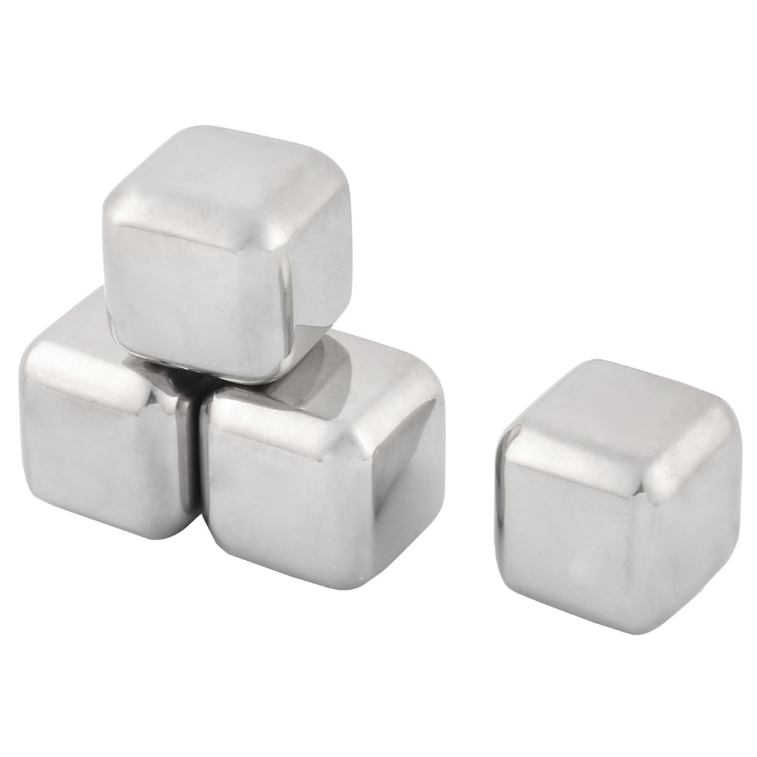 Home Stainless Steel Cubic Shaped Soda Juice Ice Cube Silver Tone 4 Pcs w Storage Box