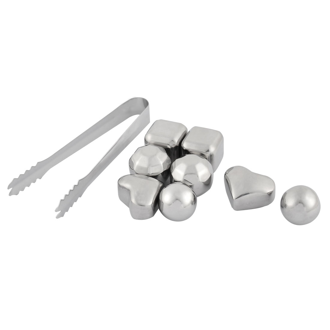 Home Stainless Steel Soda Juice Cold Compress Whiskey Ice Cube Silver Tone 9 in 1