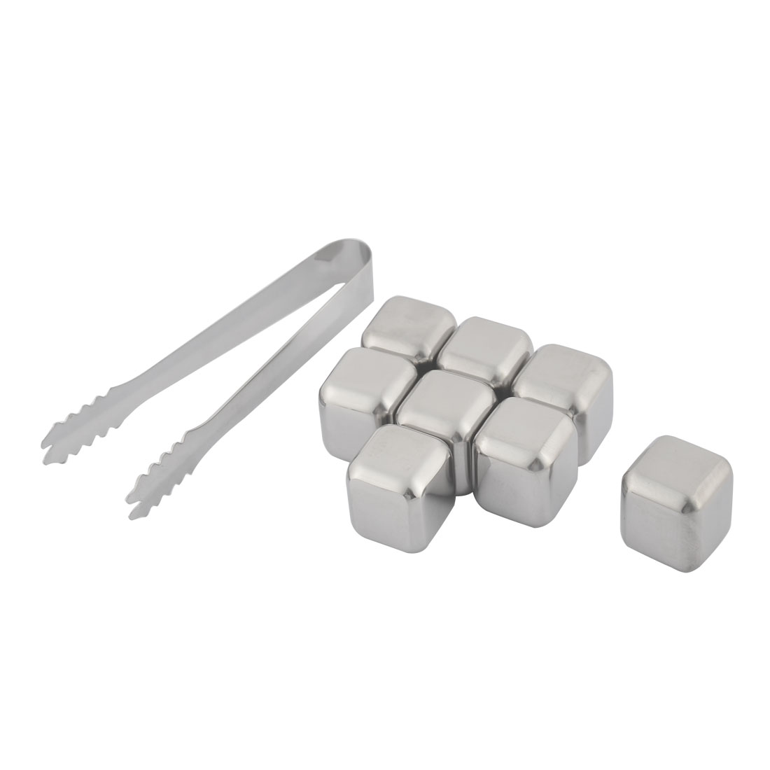 Home Stainless Steel Cubic Shaped Soda Juice Ice Cube Silver Tone 9 in 1