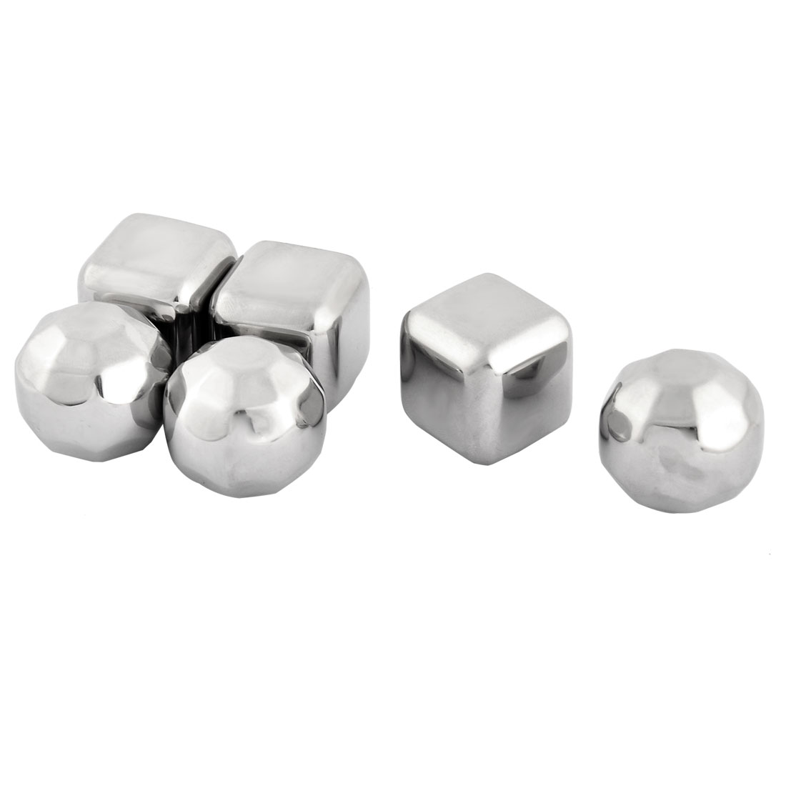 Home Stainless Steel Cubic Faceted Shaped Soda Juice Ice Cube Silver Tone 6 in 1