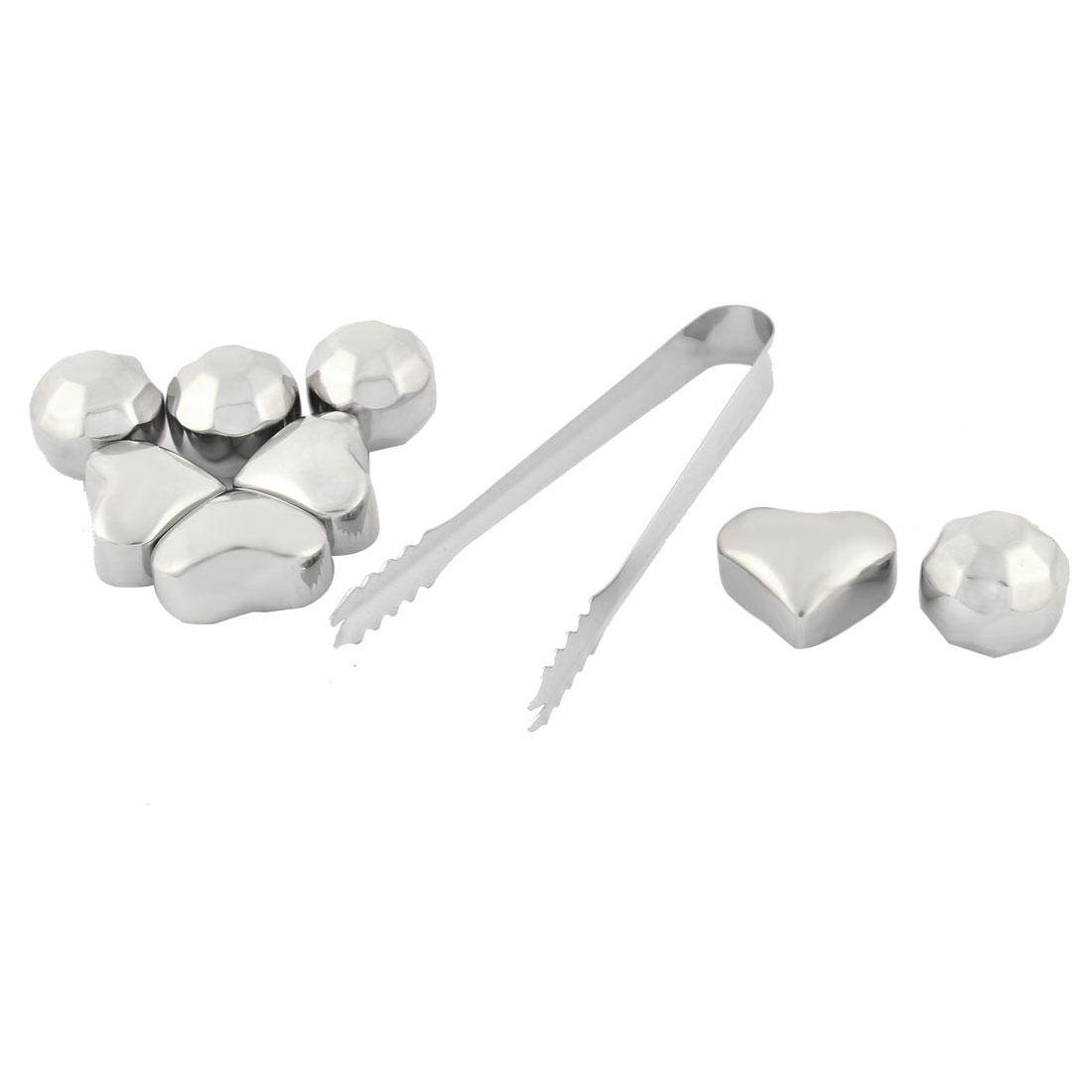 Home Stainless Steel Heart Faceted Ball Shaped Whiskey Soda Juice Ice Cube Silver Tone 9 in 1