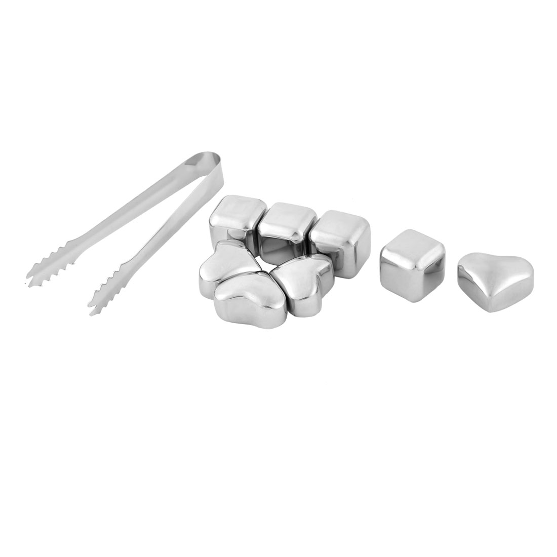 Home Stainless Steel Heart Cubic Shaped Soda Juice Ice Cube Silver Tone 9 in 1