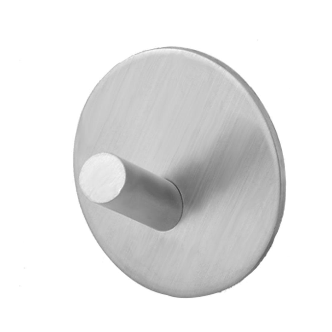 Household Bathroom Metal Self-adhesive Clothes Towel Hanger Hook Silver Tone