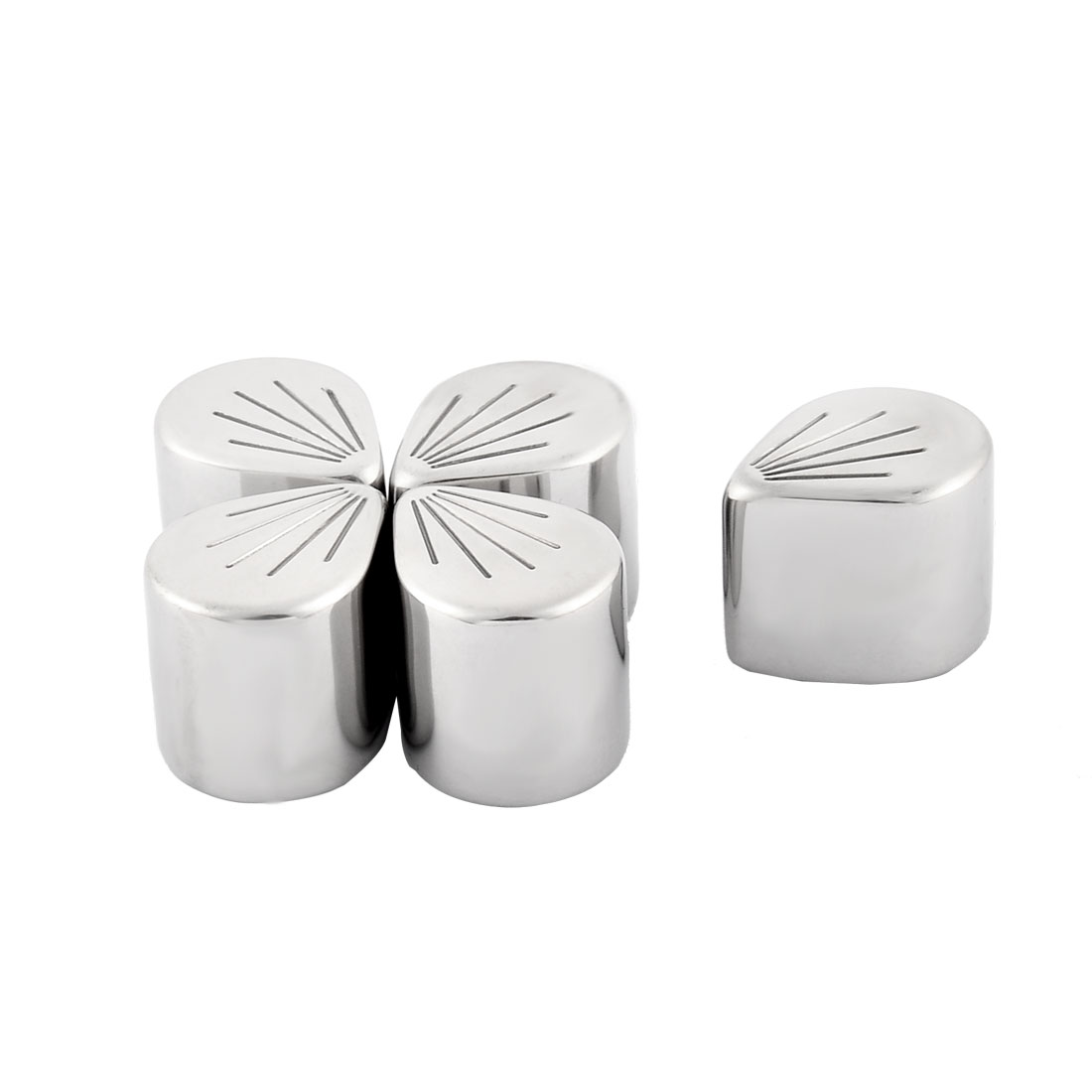 Home Stainless Steel Leaf Shaped Soda Juice Ice Cube Silver Tone 5 Pcs w Pocket