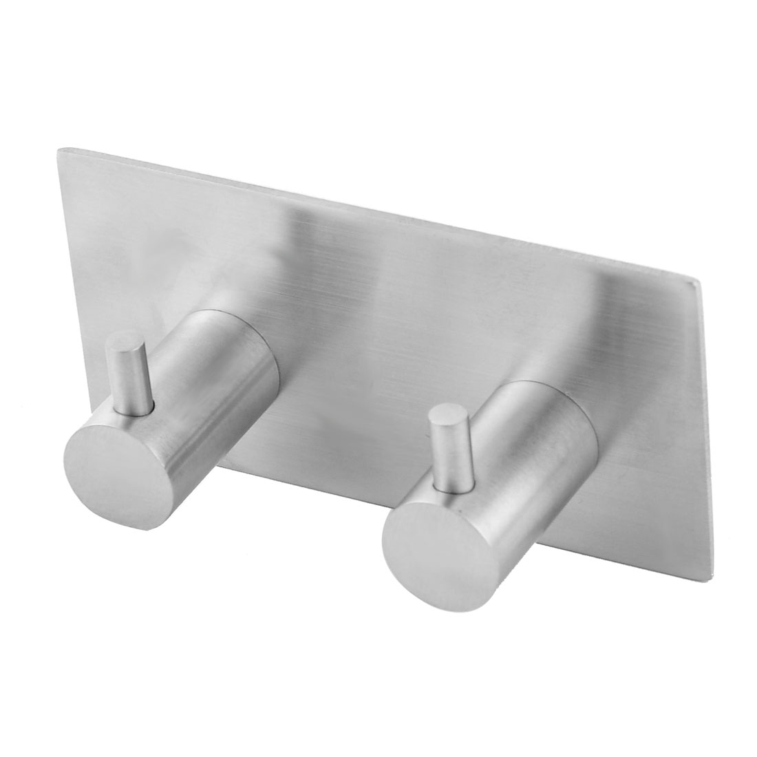 Home Metal Self-adhesive Double Hooks Clothes Towel Hanger Silver Tone
