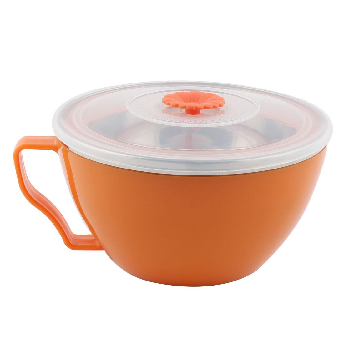 Kitchen Plastic Heat Resistant Instant Noodles Food Storage Fresh Sealed Bowl Orange