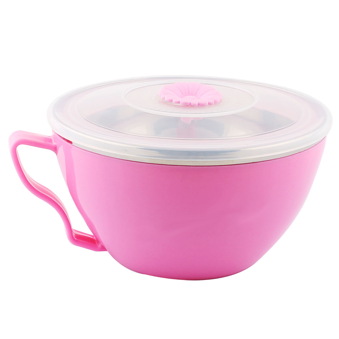 Kitchen Plastic Heat Resistant Instant Noodles Food Storage Fresh Sealed Bowl Pink