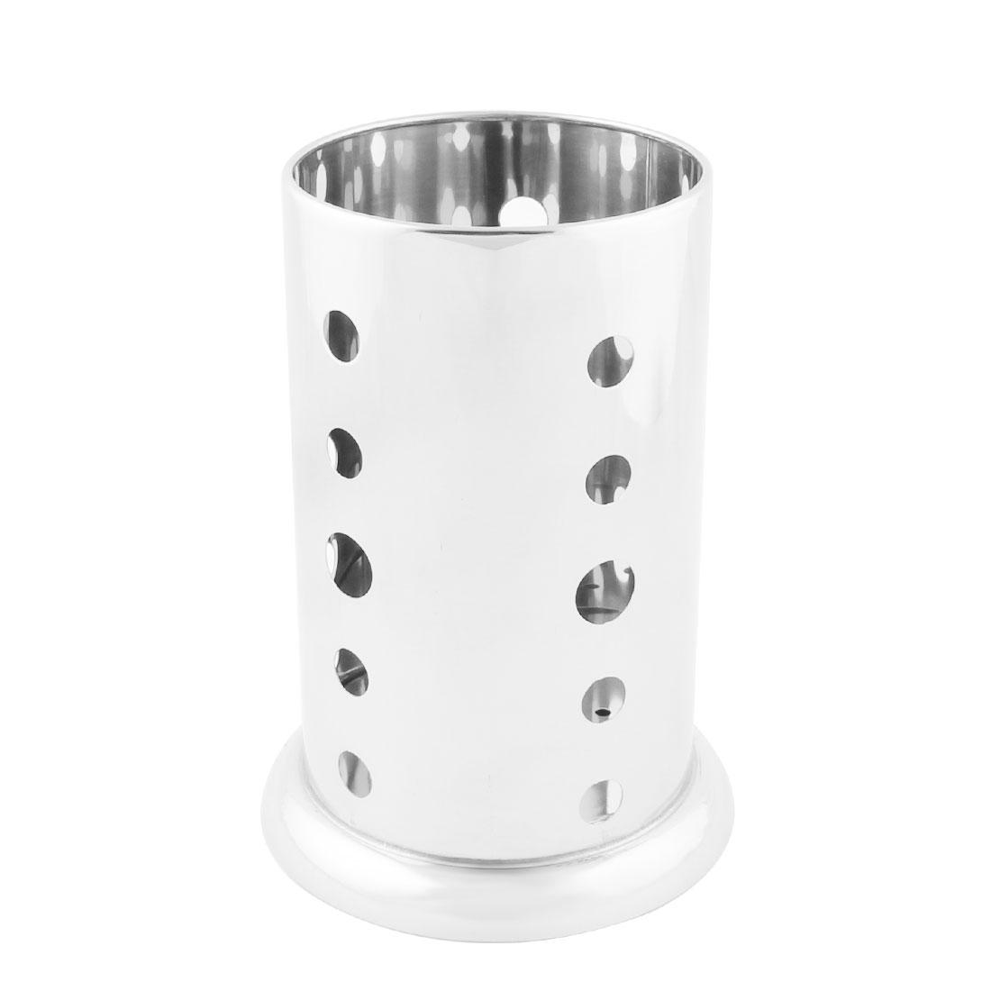 Kitchen Stainless Steel Hollow Bottom Spoon Fork Chopsticks Holder Case Cage 12 x 17cm