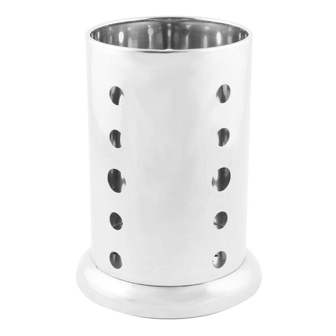 Home Kitchen Stainless Steel Hollow Bottom Spoon Fork Chopsticks Holder Case Cage 13 x 17cm