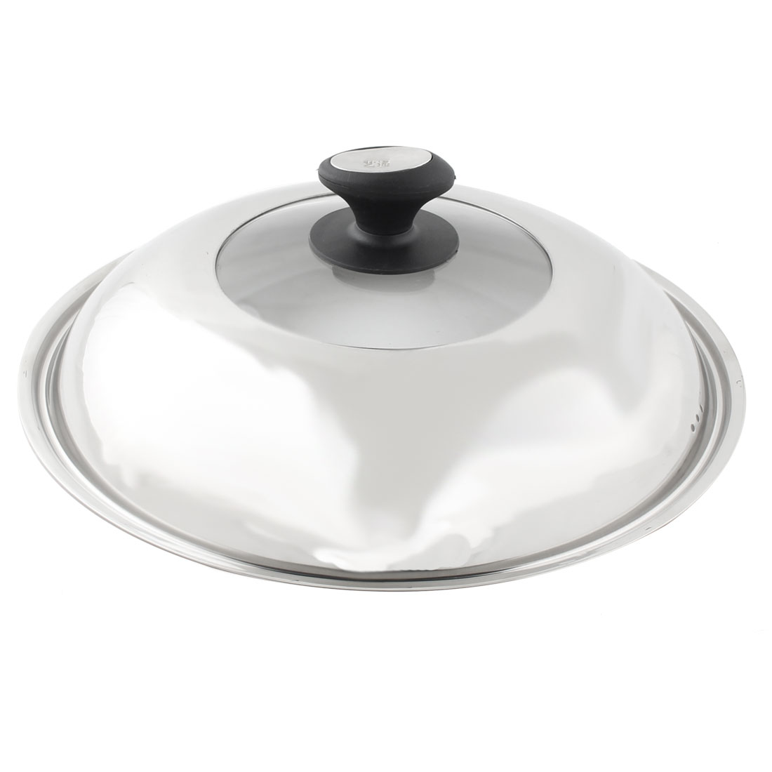 Kitchen Glass Top Stainless Steel Cooker Pot Skillet Frying Pan Knob Lid Cover 32.5cm Dia