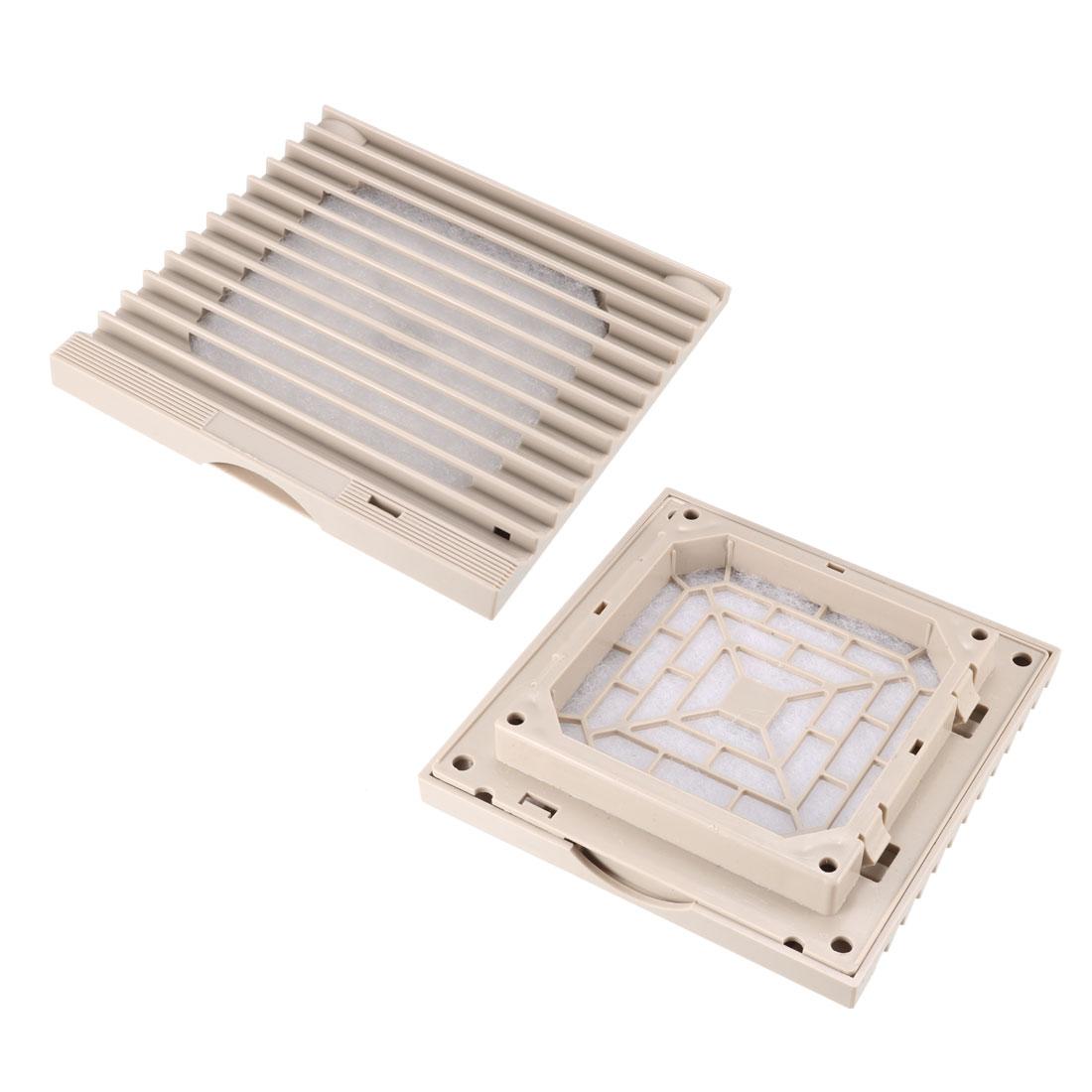 2pcs 116mm x 116mm Gray Plastic Cabinet Washable Axial Flow Fan Foam Dust Filter