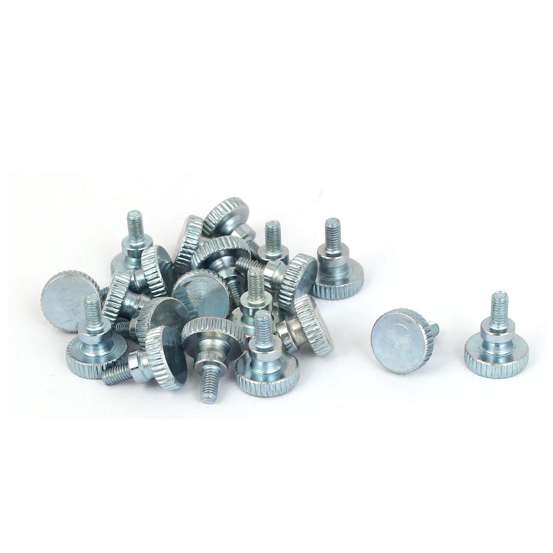 M3x6mm Carbon Steel Step Hand Screw Flat Knurled Head Thumb Bolts 20pcs