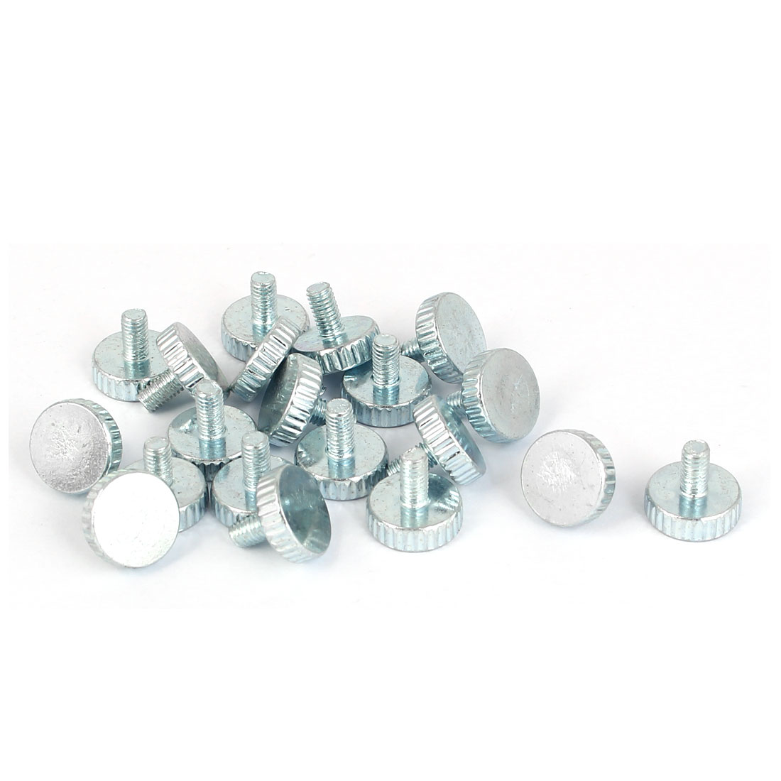 M3x6mm Thread Carbon Steel Knurled Round Head Thumb Screws Silver Blue 20pcs