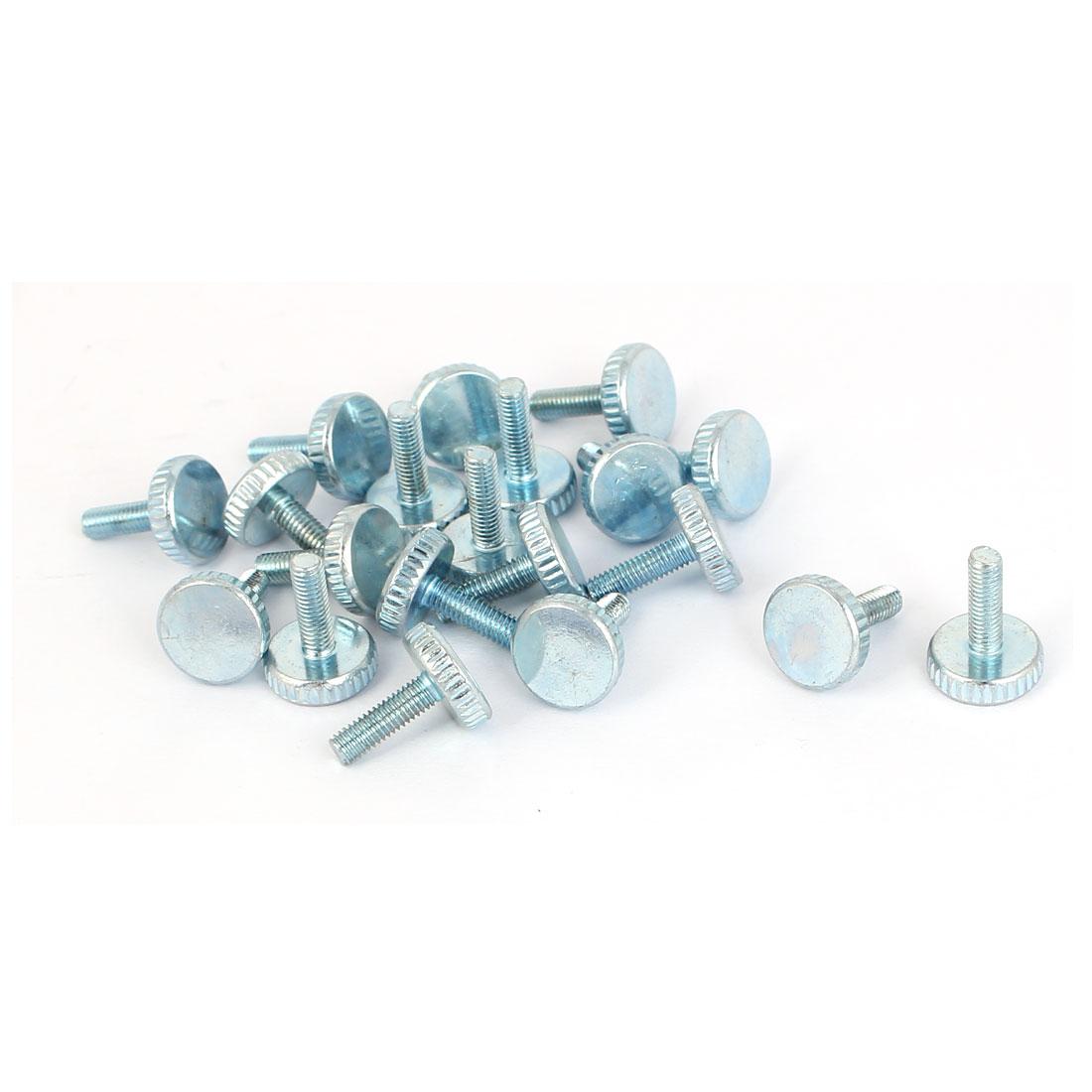 M3x10mm Thread Carbon Steel Knurled Round Head Thumb Screws Silver Blue 20pcs