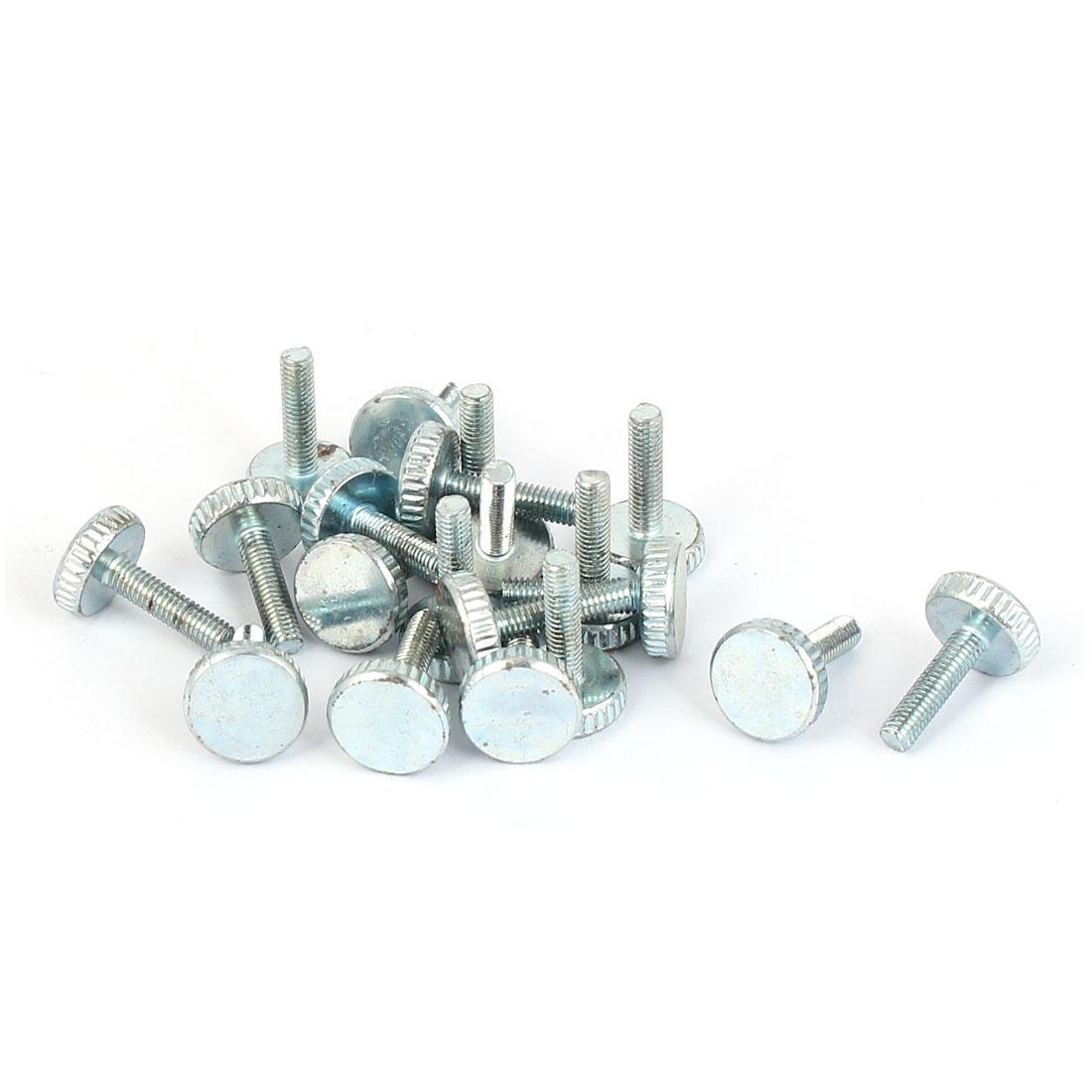 M3x12mm Thread Carbon Steel Knurled Round Head Thumb Screws Silver Blue 20pcs