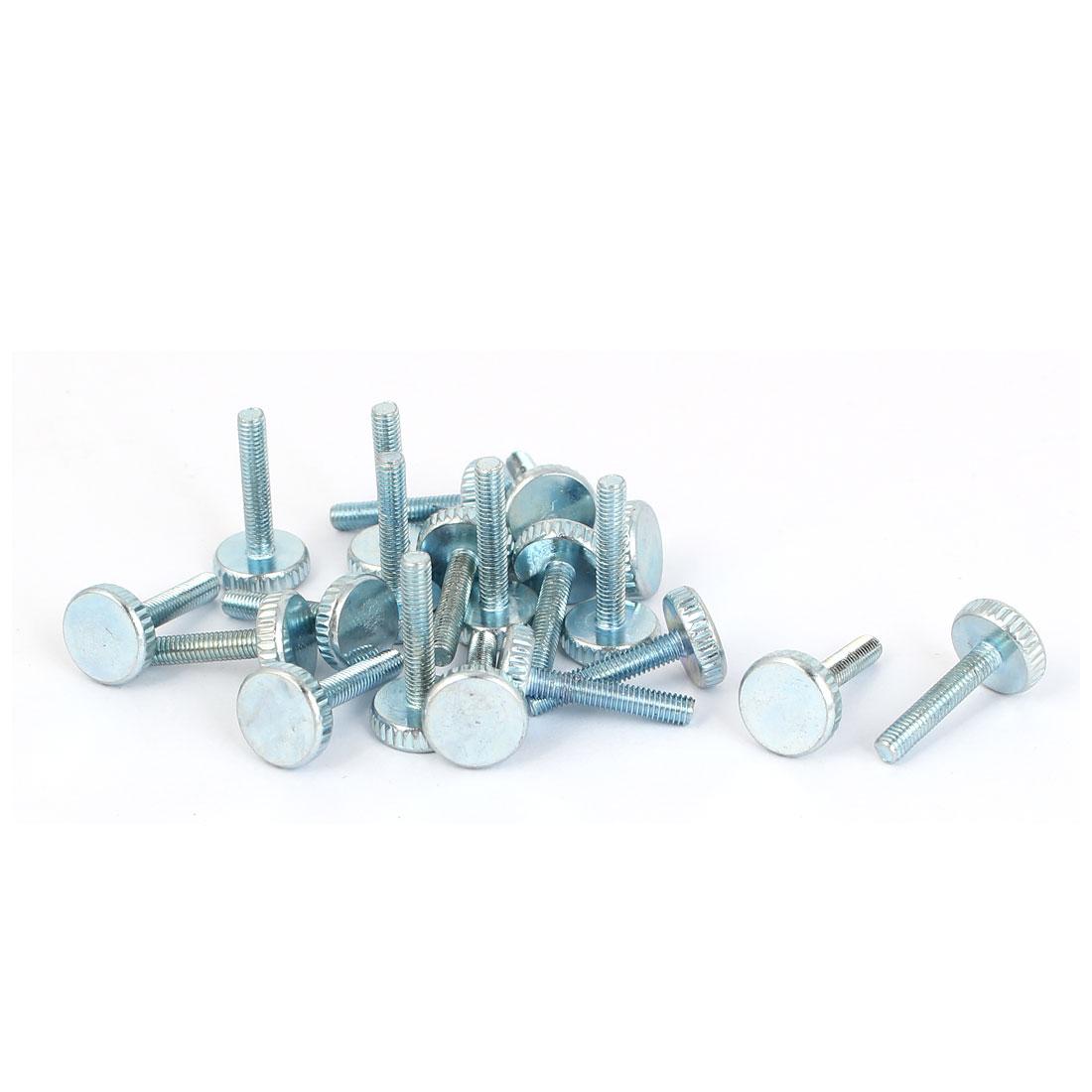 M3x16mm Thread Carbon Steel Knurled Round Head Thumb Screws Silver Blue 20pcs