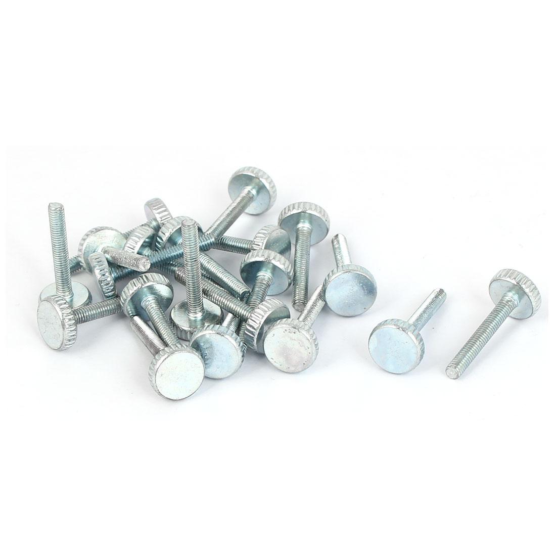 M3x20mm Thread Carbon Steel Knurled Round Head Thumb Screws Silver Blue 20pcs
