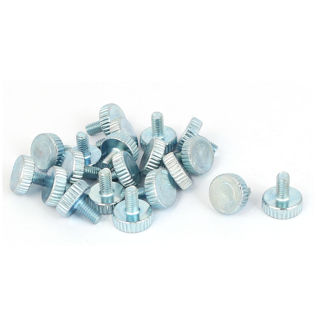 M4x8mm Thread Carbon Steel Knurled Round Head Thumb Screws Silver Blue 20pcs