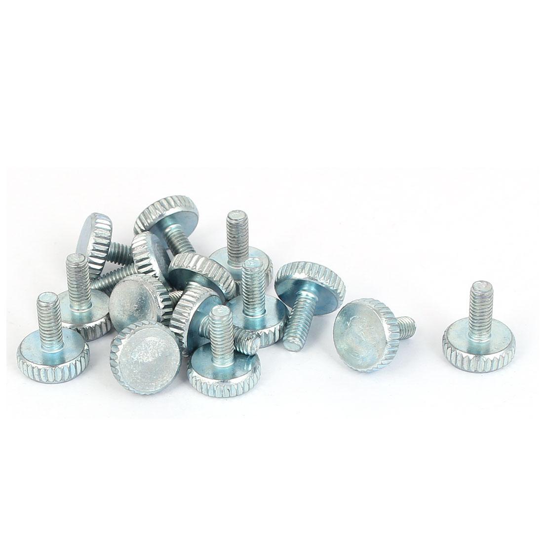 M4x10mm Thread Carbon Steel Knurled Round Head Thumb Screws Silver Blue 15pcs