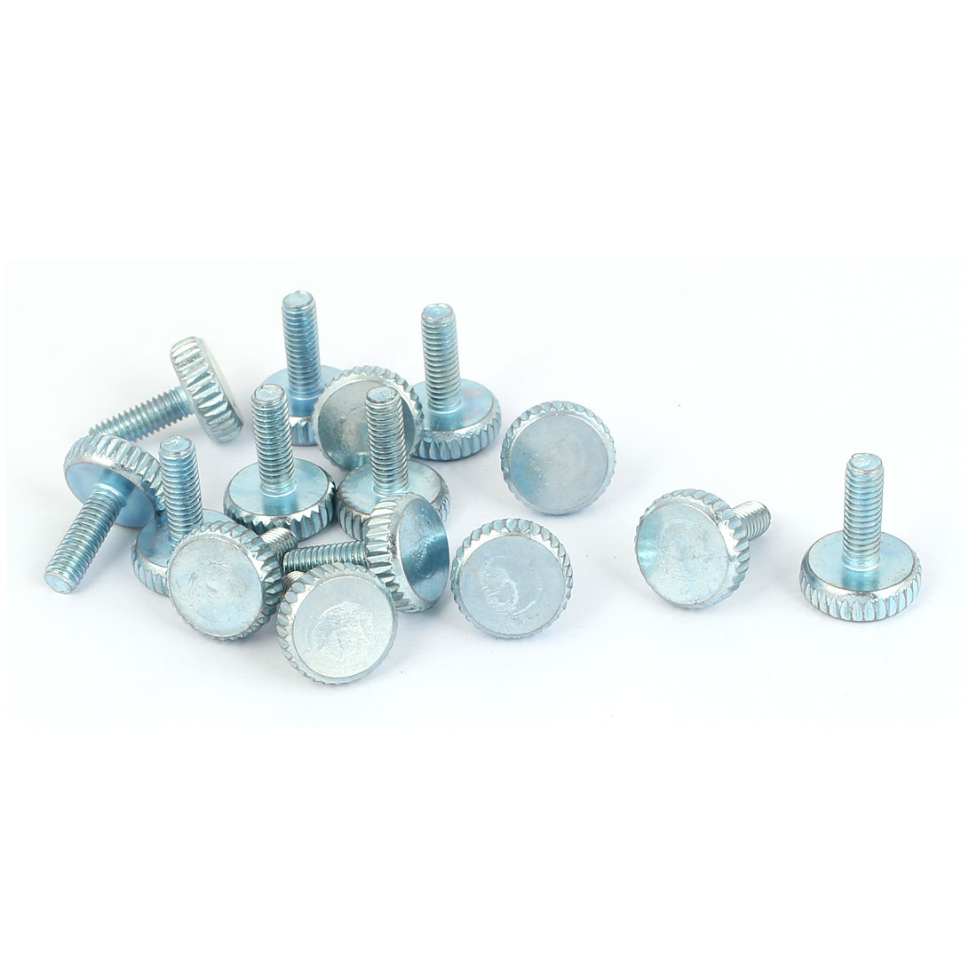 M4x12mm Thread Carbon Steel Knurled Round Head Thumb Screws Silver Blue 15pcs