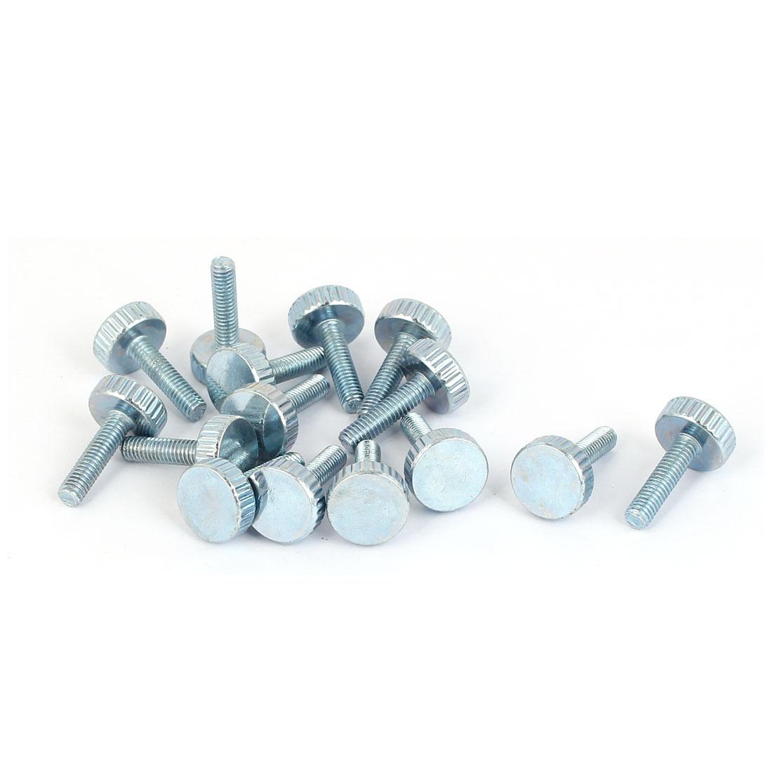 M4x16mm Thread Carbon Steel Knurled Round Head Thumb Screws Silver Blue 15pcs