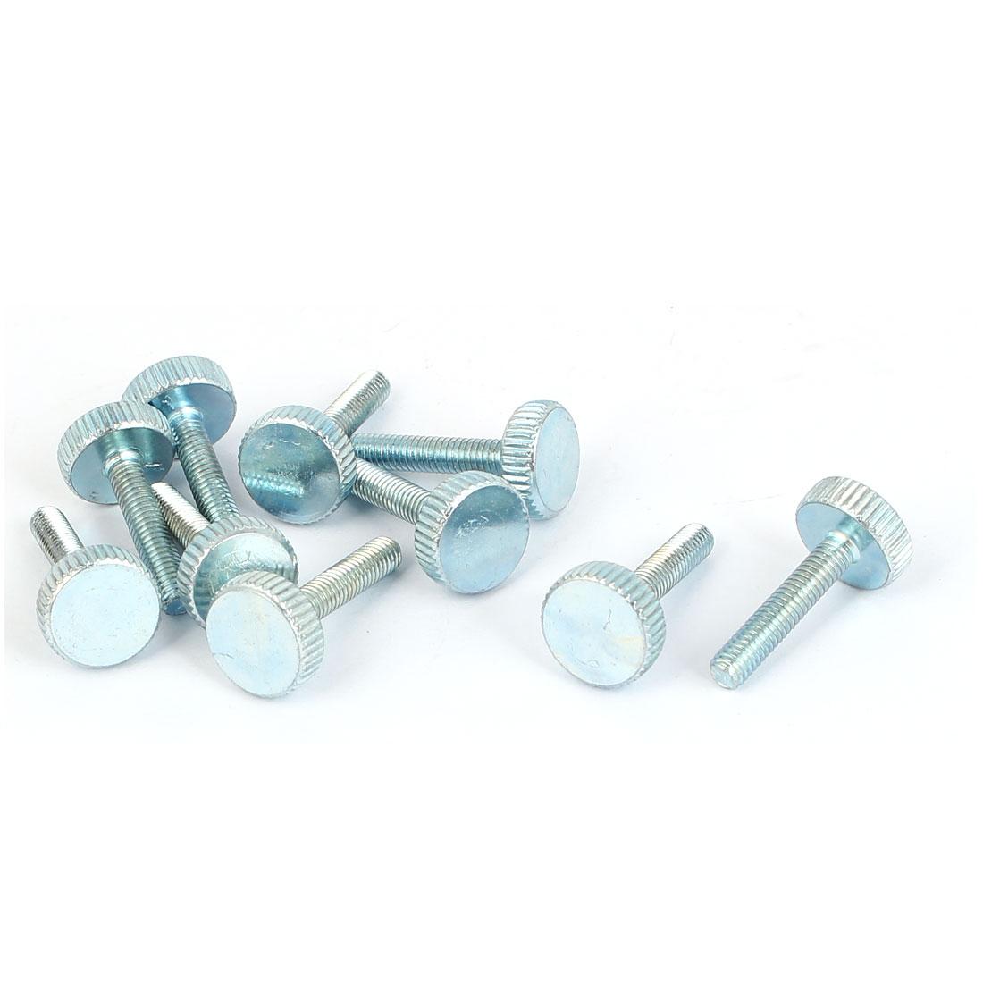 M4x20mm Thread Carbon Steel Knurled Round Head Thumb Screws Silver Blue 10pcs