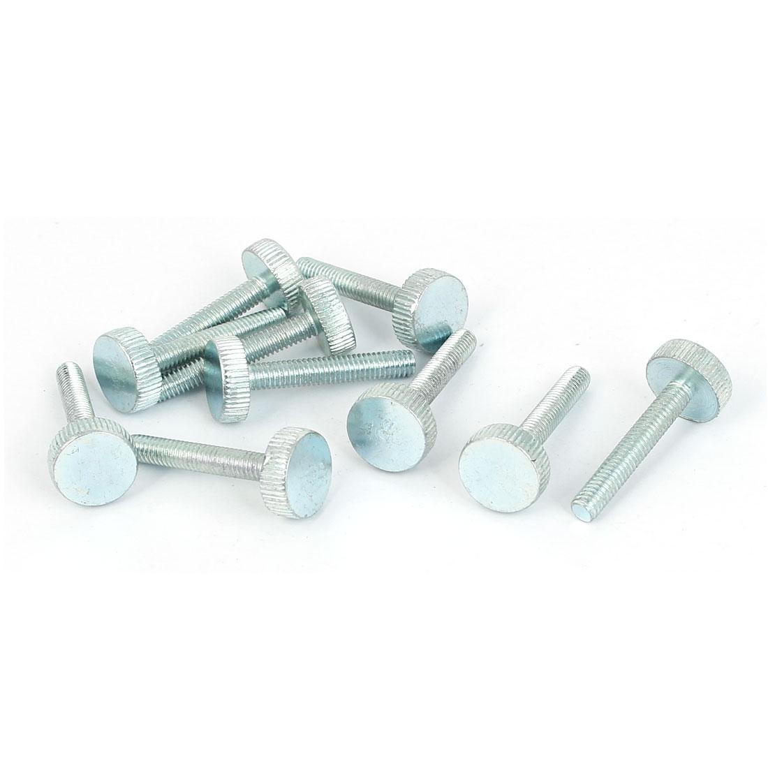 M4x25mm Thread Carbon Steel Knurled Round Head Thumb Screws Silver Blue 10pcs