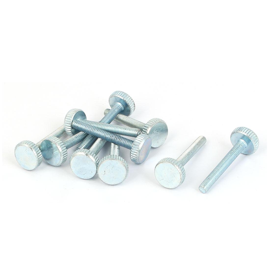 M4x30mm Thread Carbon Steel Knurled Round Head Thumb Screws Silver Blue 10pcs