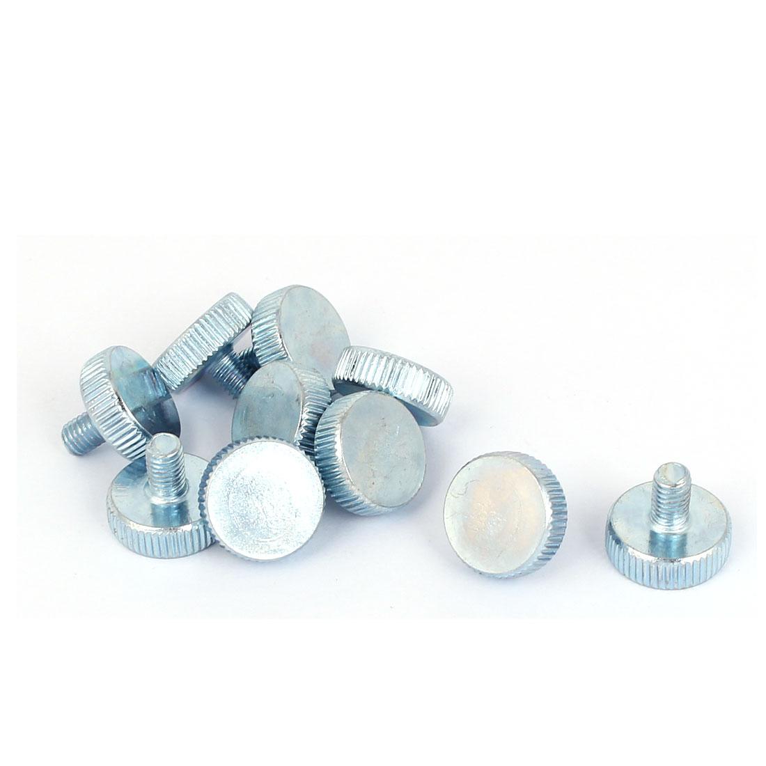 M5x8mm Thread Carbon Steel Knurled Round Head Thumb Screws Silver Blue 10pcs
