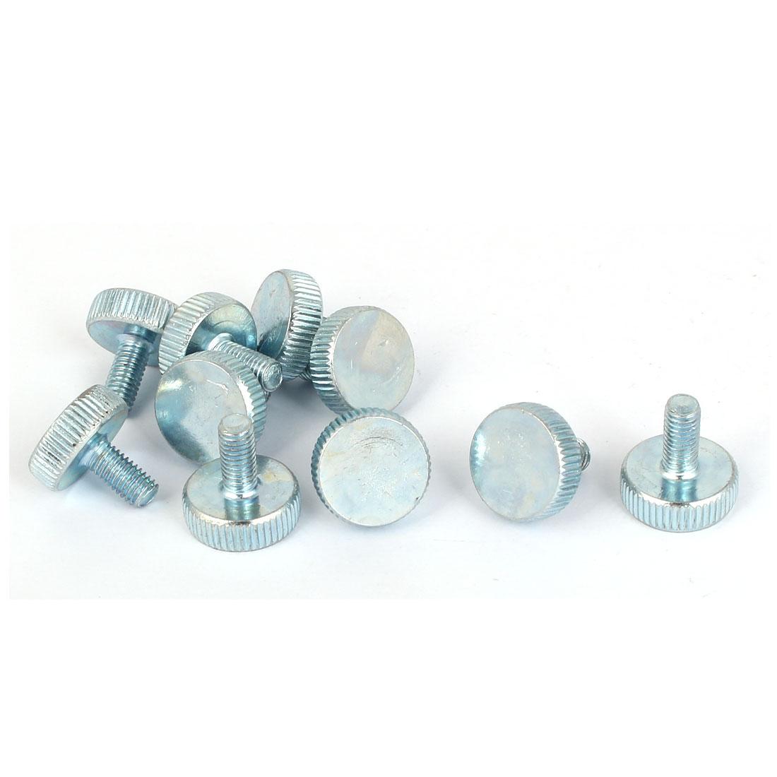 M5x10mm Thread Carbon Steel Knurled Round Head Thumb Screws Silver Blue 10pcs