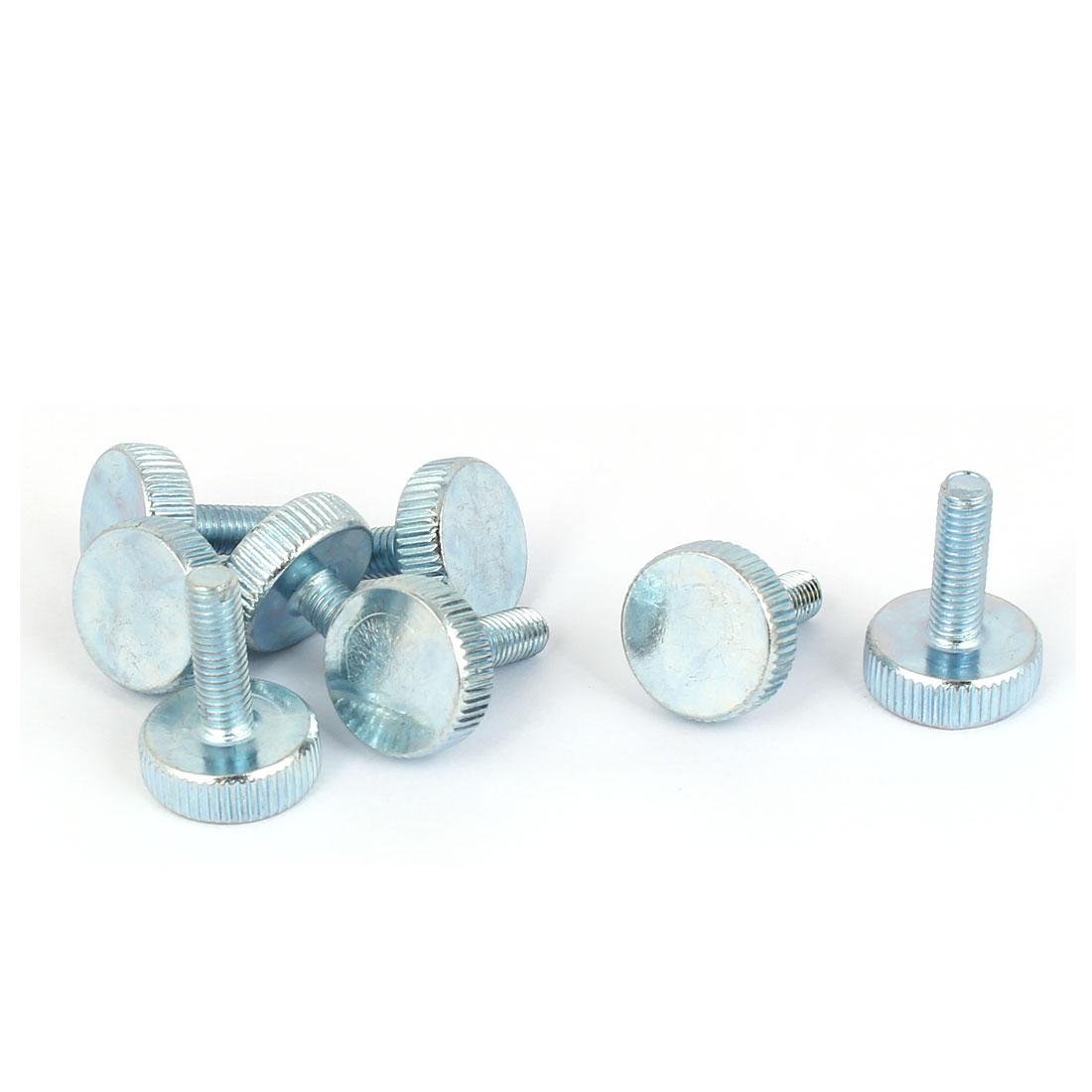 M5x16mm Thread Carbon Steel Knurled Round Head Thumb Screws Silver Blue 8pcs