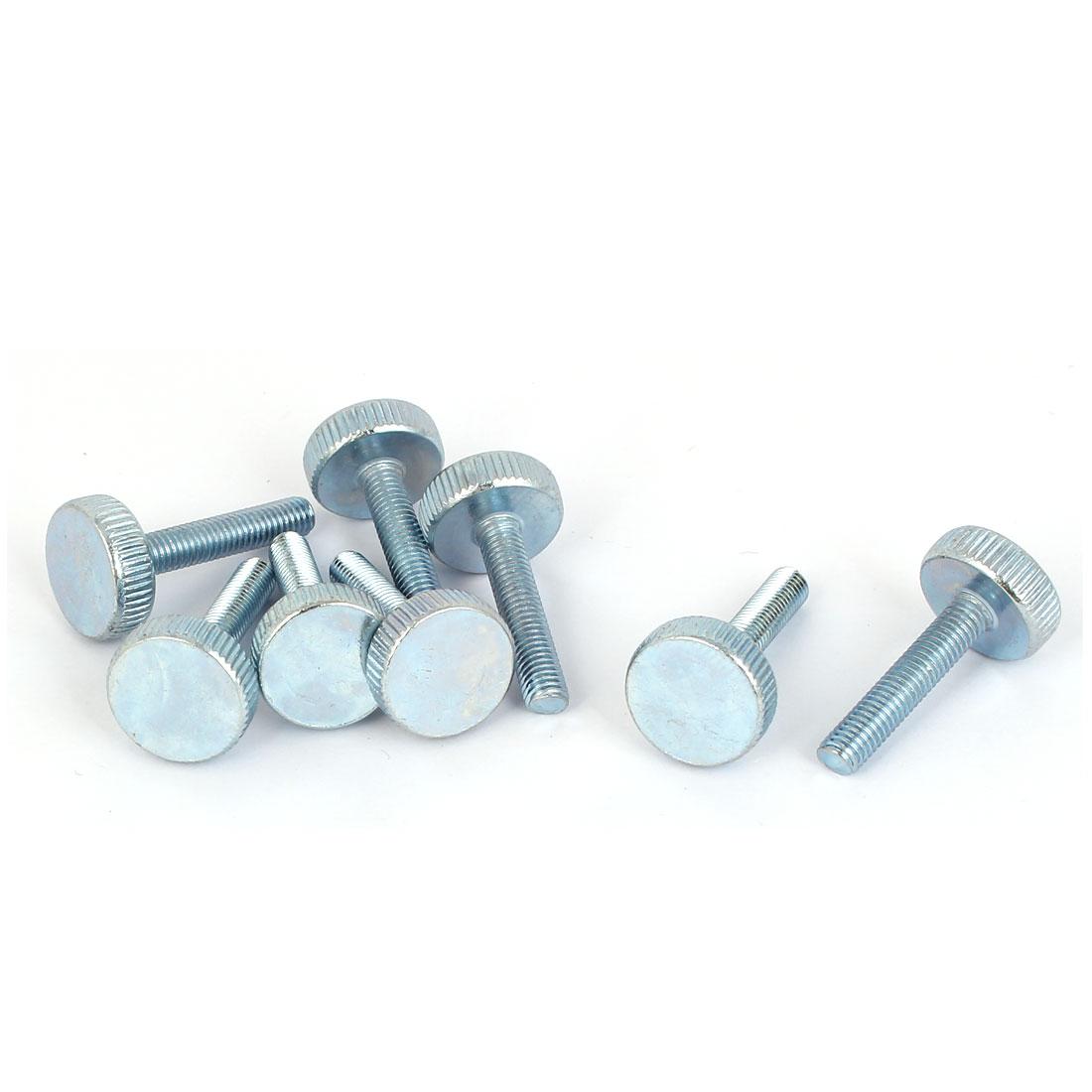 M5x25mm Thread Carbon Steel Knurled Round Head Thumb Screws Silver Blue 8pcs