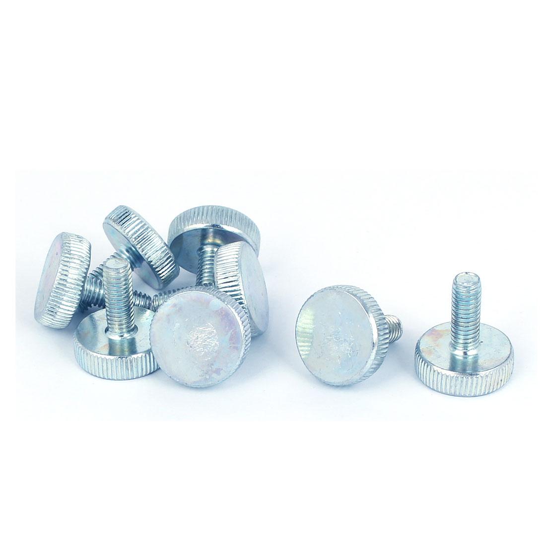 M6x16mm Thread Carbon Steel Knurled Round Head Thumb Screws Silver Blue 8pcs