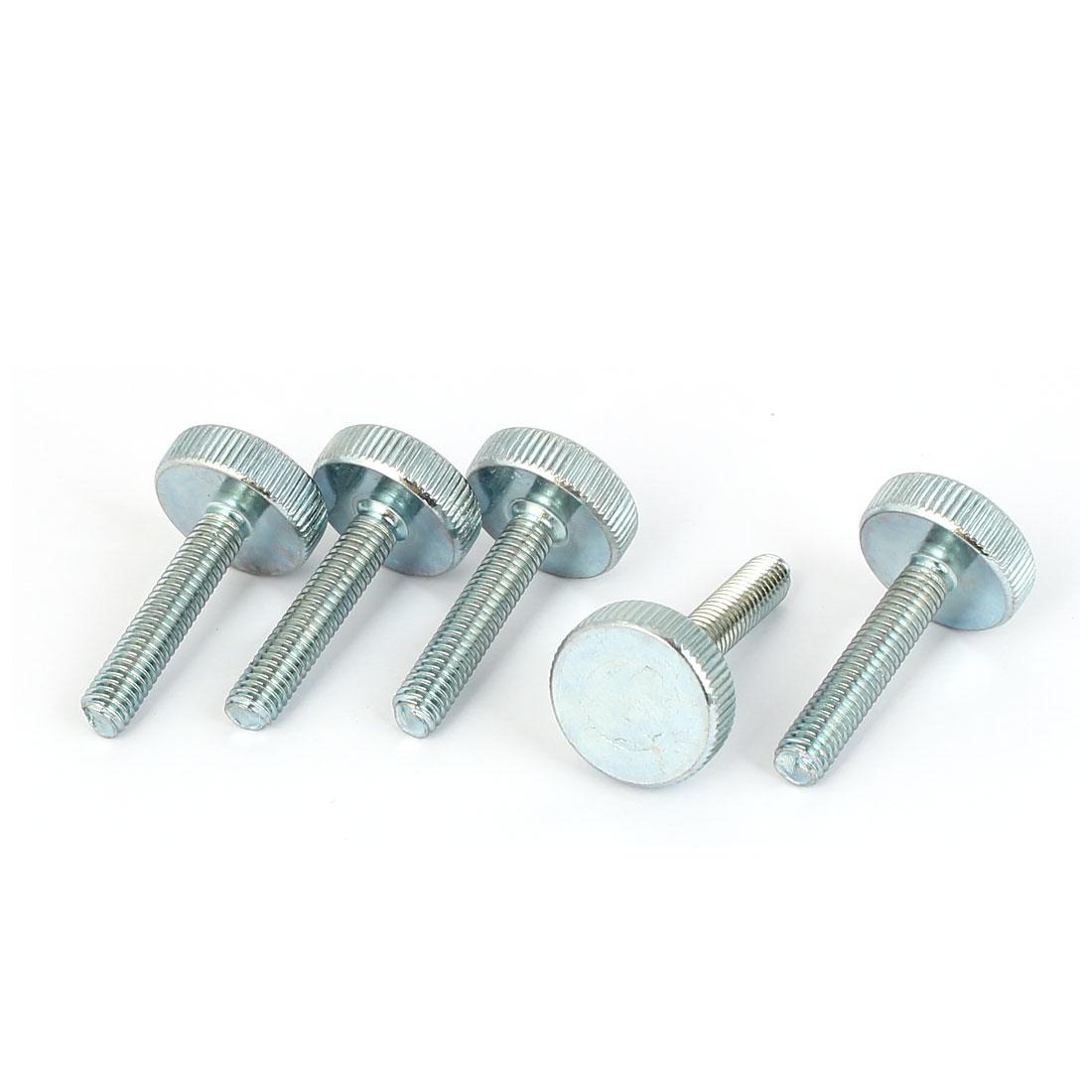 M6x30mm Thread Carbon Steel Knurled Round Head Thumb Screws Silver Blue 5pcs